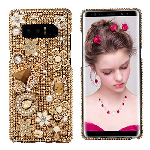 Maviss Diary Note 8 Case, Clear Slim Fit Luxury 3D Handmade Bling Crystal Rhinestone Diamonds Golden Gems Floral Handbag Jewelry Full Body Protective Hard PC Cover for Samsung Galaxy Note 8