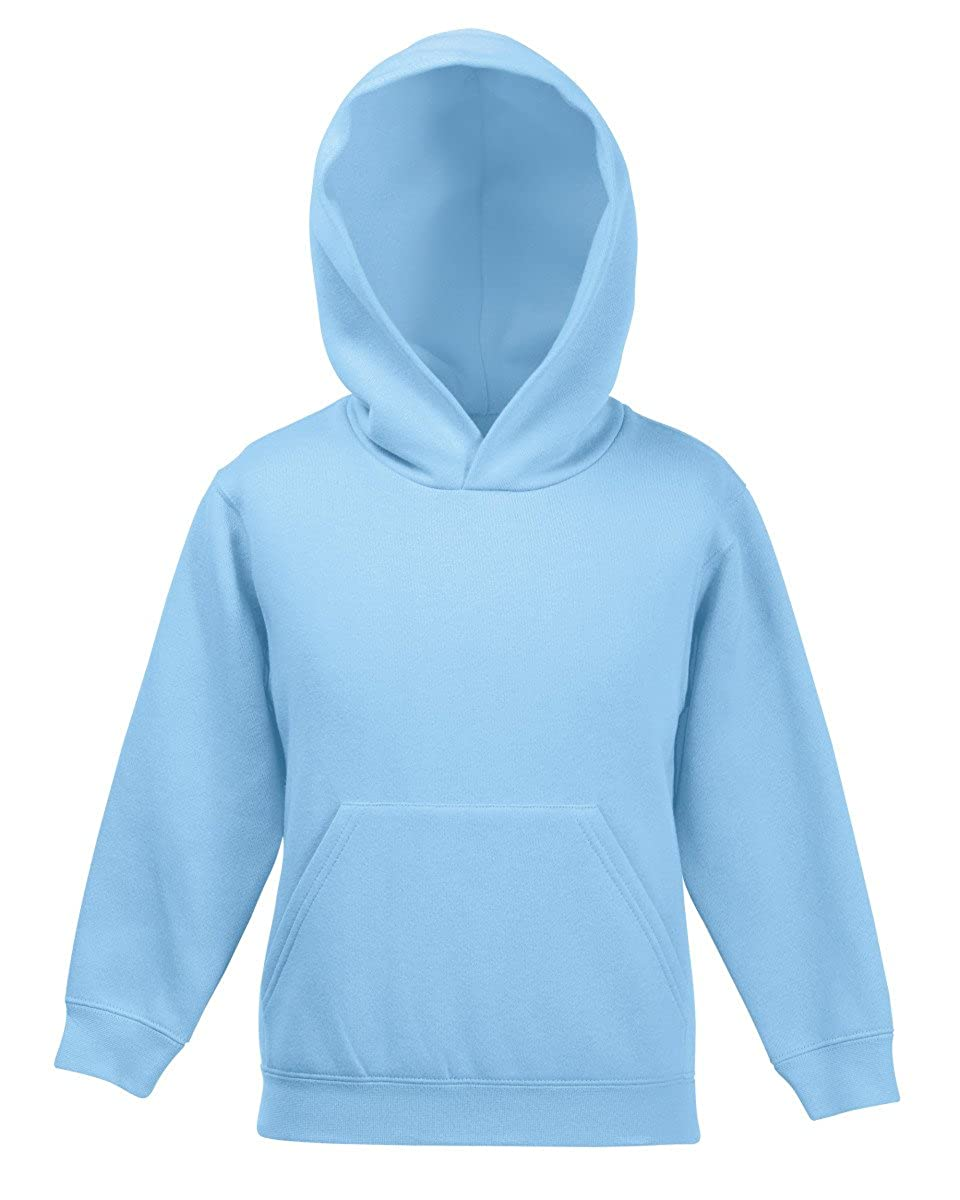 Fruit of The Loom Childrens/Kids Boys Classic Hooded Sweatshirt Jumper Plain Blank Pullover Sweater Hoodie Casual Style Full Sleeve Jumper Top Hoodie Sweater SS14B