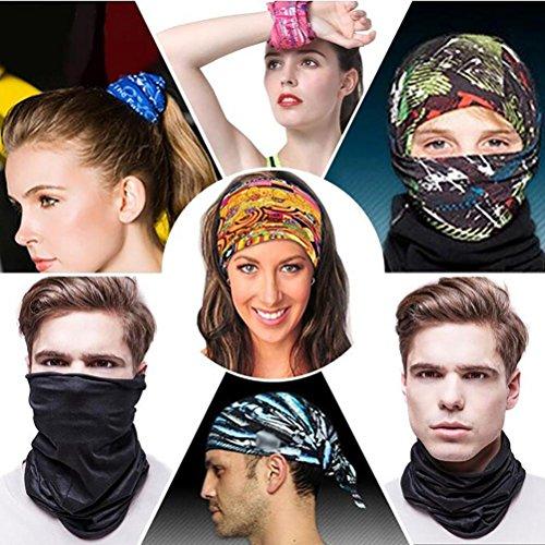 qiulv Couvre-chef Multifonctionnel Vaste Headband Sport Magie Écharpe Head Wrap Cou Guêtre Sweatband Original Yoga Foulard Cagoule De Plein Air Hommes Bandeau