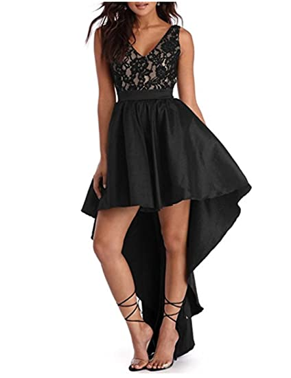 Stillluxury High Low Lace Cocktail Evening Gowns Women Sleeveless V Neck Black Size 6
