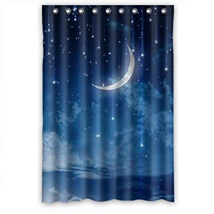 RELAX Moon Star In Blue Sky Beautiful Night Waterproof Shower Curtain 48quotw
