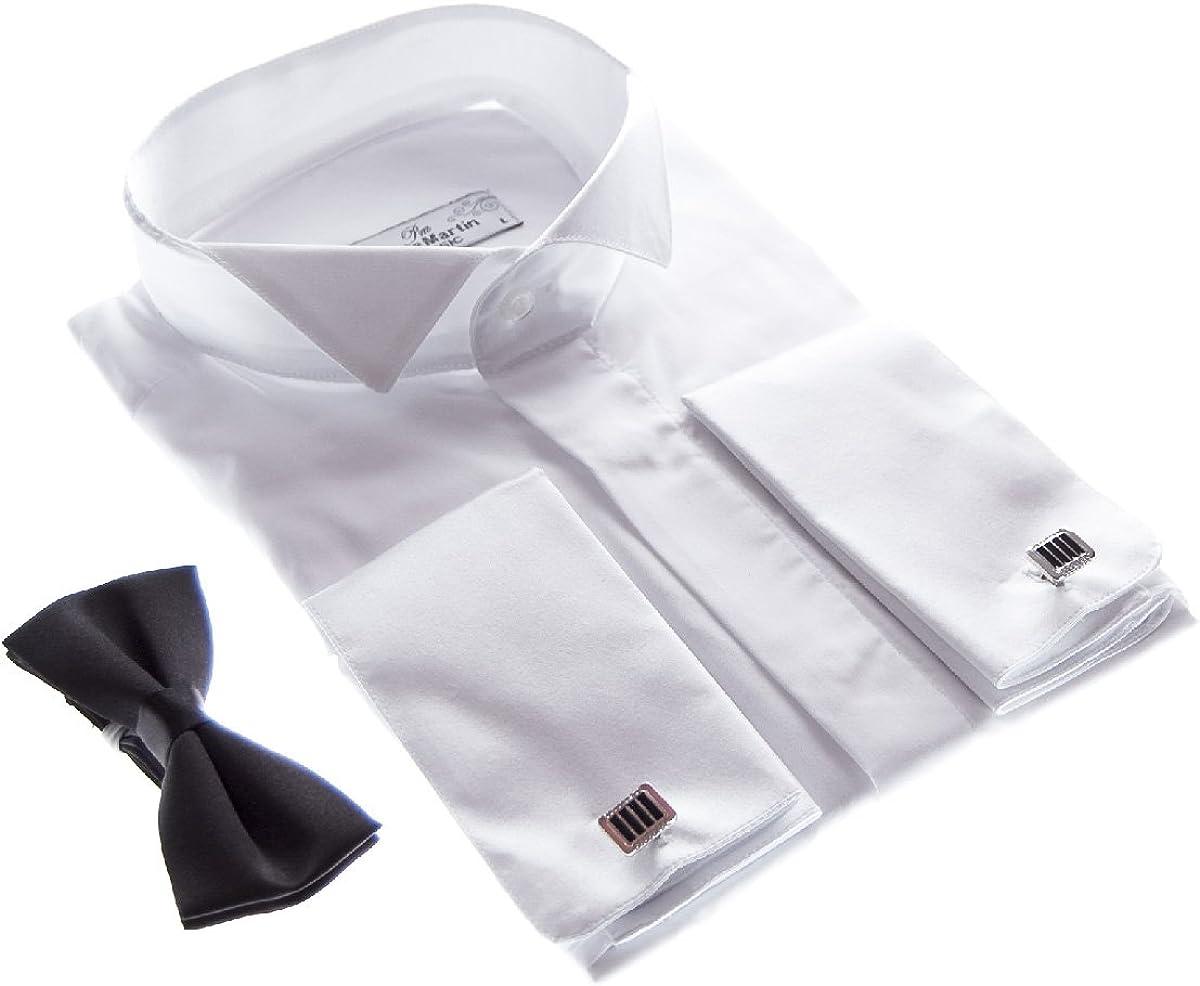 Designer Smoking Camisa Blanco con Negro Pajarita Camisa De Hombre Gemelos con Smoking Cuello libre de planchar sobre manguito manga larga: Amazon.es: Ropa y accesorios