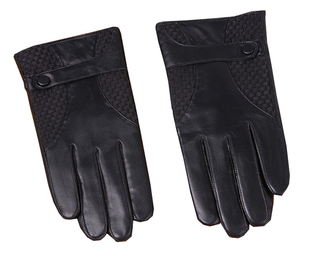 UNbox Mens Classic Geniune Leather Motorcycle Gloves Simple Sytle Driving Gloves A