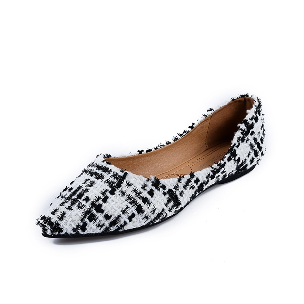Meeshine Womens Classic Pointy Toe Ballet Flats Slip On Plaid Dress Flat Shoes White-02 US 7