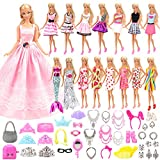 Barwa Lot 55 Items Clothes Accessories for Barbie Doll = 15 Fashion Dresses Outfits and 40 Accessories Shoes Necklace Crown Gift for Kids