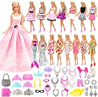 Barwa 55 Pcs Doll Clothes and Accessories Set EU CE-EN71 Certified Include 15 Clothes Party Grown Outfits + 40 Different...