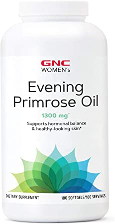 GNC Women's Evening Primrose Oil (EPO) 1300mg, 180 Softgels, Supports Hormonal Balance and Healthy Skin