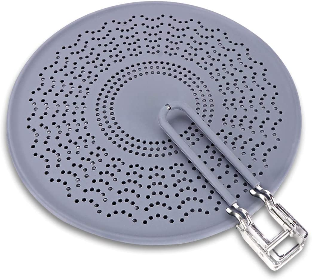 "11.5"" Silicone Splatter Screen - Pan Cover with Folding Handle, High Heat Resistant Oil Splash Guard - Heat Insulation Cooling Mat, Strainer, Drain Board for Frying Pan(Grey)"
