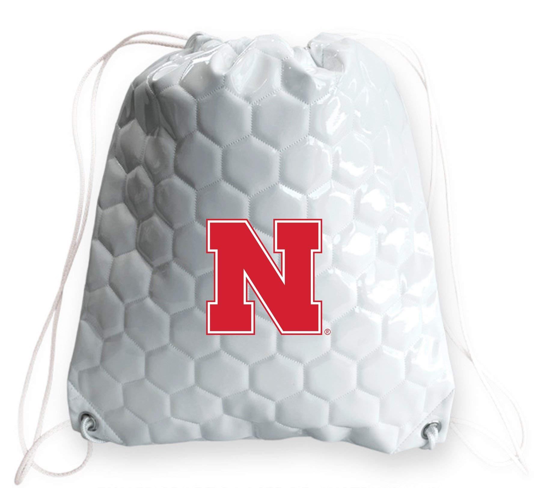 Zumer Sport Nebraska Cornhuskers Soccer Ball Leather Drawstring Shoulder Backpack Bag - Made from The Same Exact Materials as a Soccer Ball - White