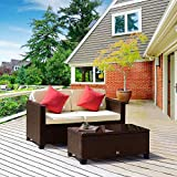 Cloud Mountain 2 PC Rattan Wicker Loveseat Patio Furniture Set Outdoor Wicker Sofa Set Patio Garden Lawn Porch Glass Top Table, Cocoa Brown Rattan Beige Cushions