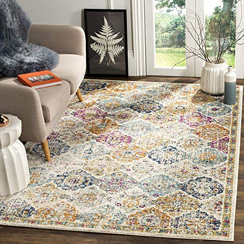 Safavieh Madison Collection MAD611B Cream and Multicolored Bohemian Chic Distressed Area Rug (3' x 5')