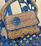 Tan & Teal Crochet Plarn Handbag / 12 x 10 In. / ME2Designs Handmade Fashion Accessory