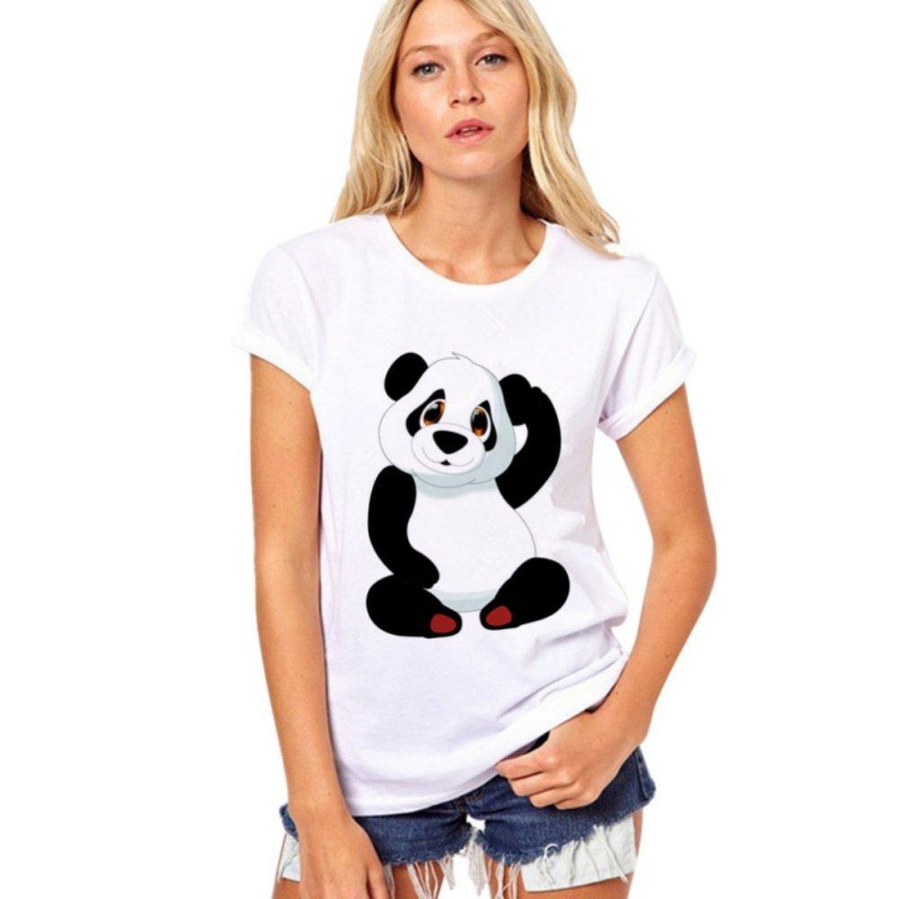 Women Summer Casual Short Sleeve T-Shirts Cute Panda Print Crew Neck Tee Tops