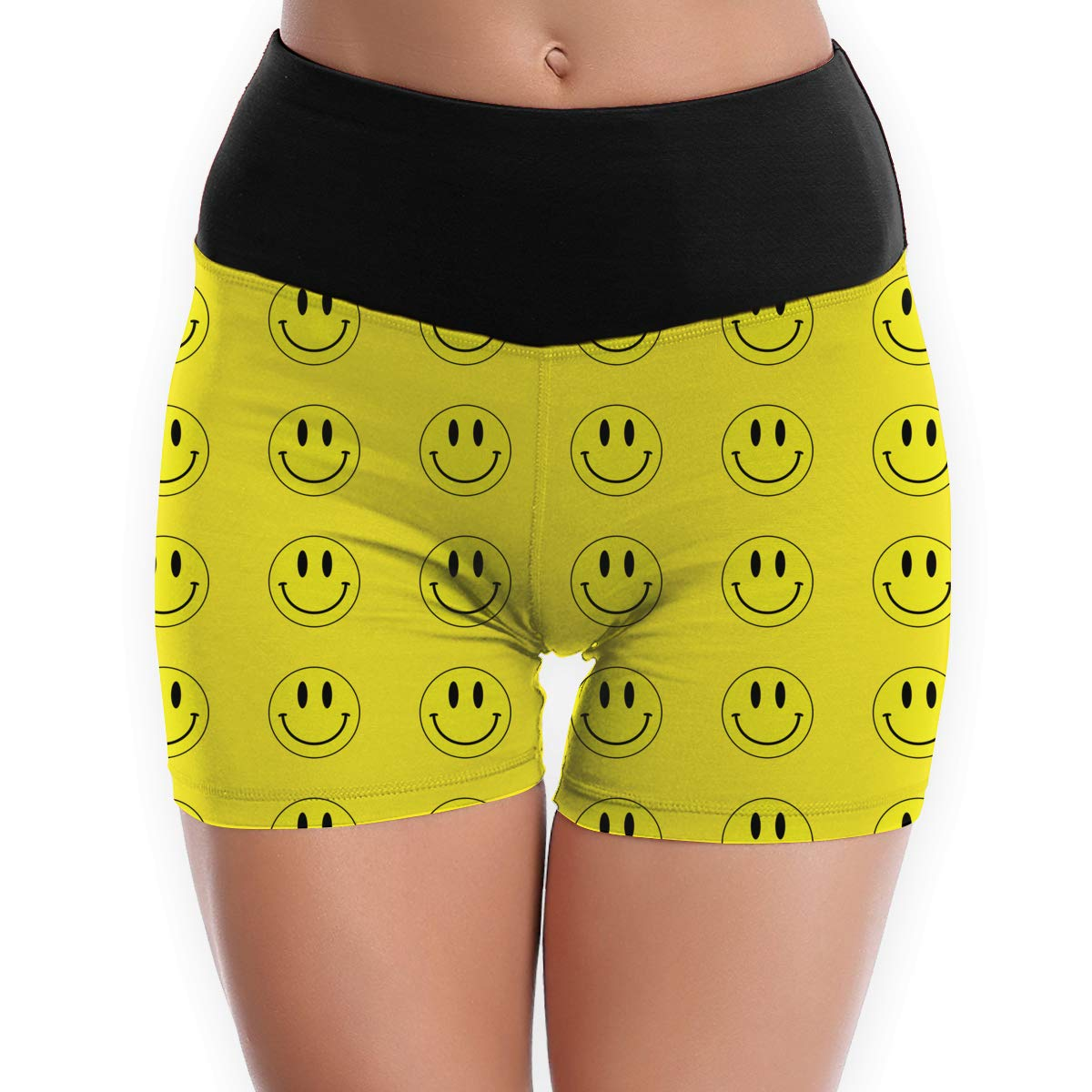 ETQYB Smiley Yellow Happy Face Yoga Shorts for Womens /& Girls