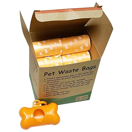 FOOTPRINTS quality for my dog, Pets n Bags, 20 roll/400 Count Refill Rolls, Poop Bags Dog Waste Bags,