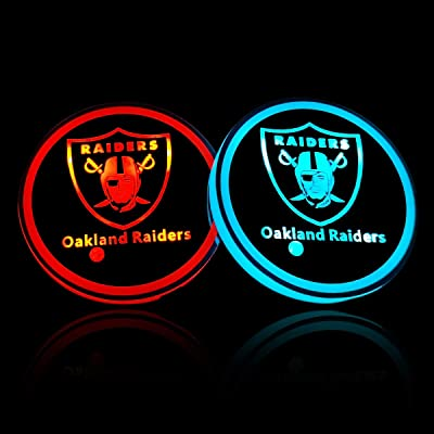 wesport NFL-American Football Collection - 2PCS LED Cup Holder Mat Pad Coaster with USB Rechargeable Interior Decoration Light (Oakland Raiders): Automotive