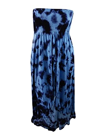 c145768077 Image Unavailable. Image not available for. Color  Raviya Women s  Black Blue Printed Cascade Tube Cover-Up Dress ...