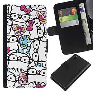 Planetar® Modelo colorido cuero carpeta tirón caso cubierta piel Holster Funda protección Sony Xperia Z3 D6603 ( Abstract Hipster Kitty Bowtie White )