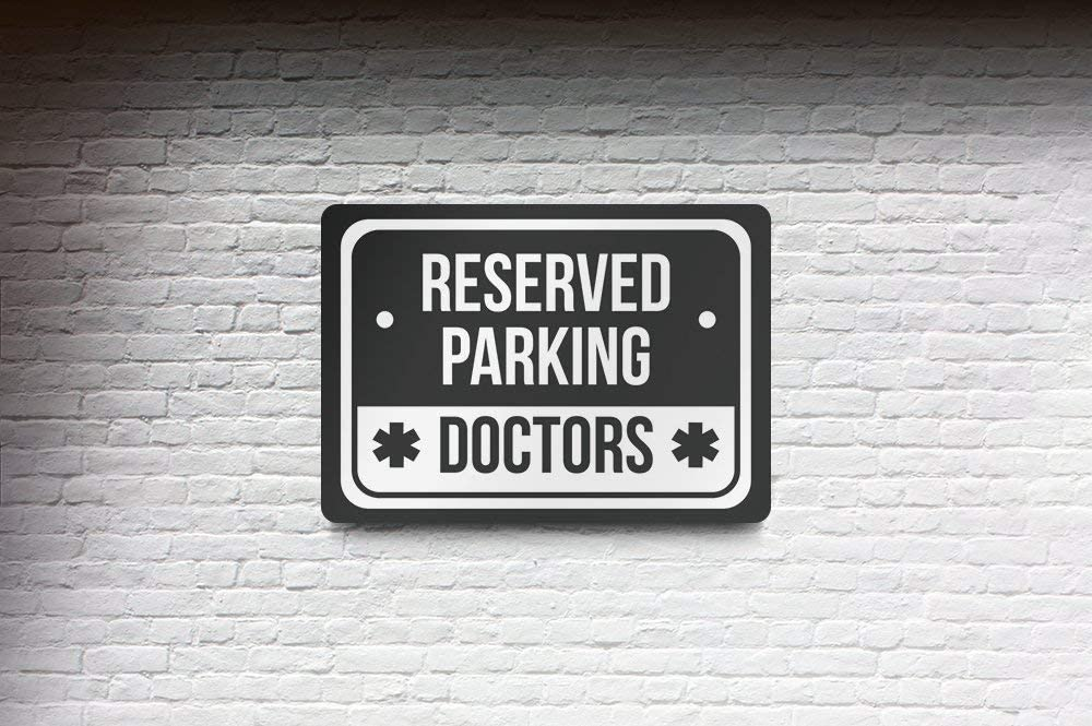 12x18 6 Pack of Signs Reserved Parking Doctors Print White and Black Notice Parking Metal Large Sign