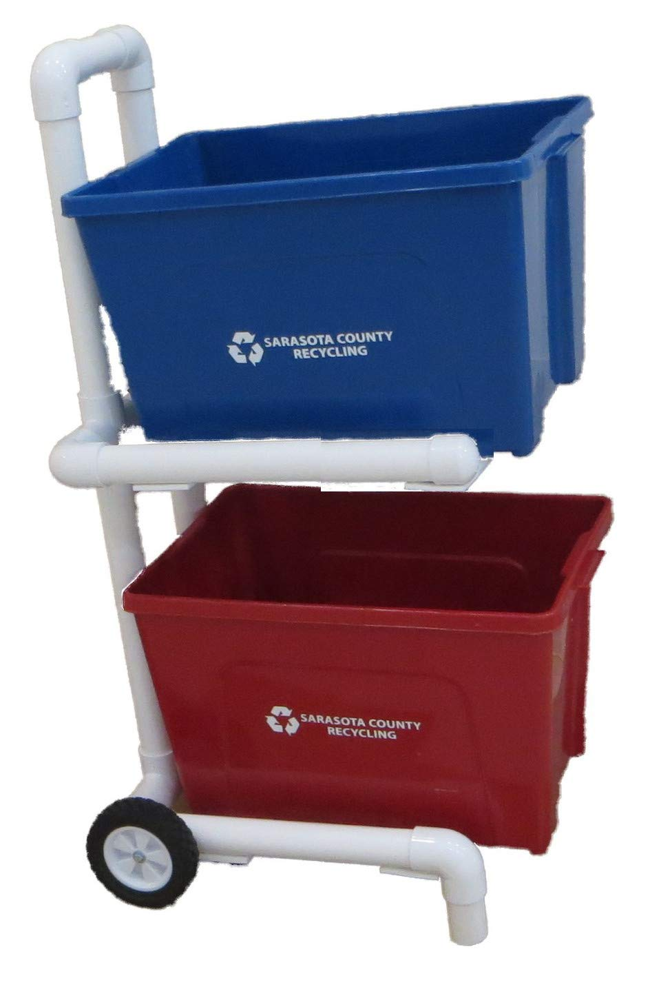 Recycling Cart - 2 Wheels and Shelves - 2'' PVC - Heavy Duty - Easy Assembly - No Tools Required - Florida Weatherproof