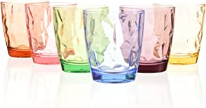 Acrylic Drinking Glasses Set Colored Plastic Tumblers Cups Glassware for Kids Unbreakable Restaurant Beverage Juice Water Drinkware for Outdoor Camping Picnic Beach (6, 6 colors)