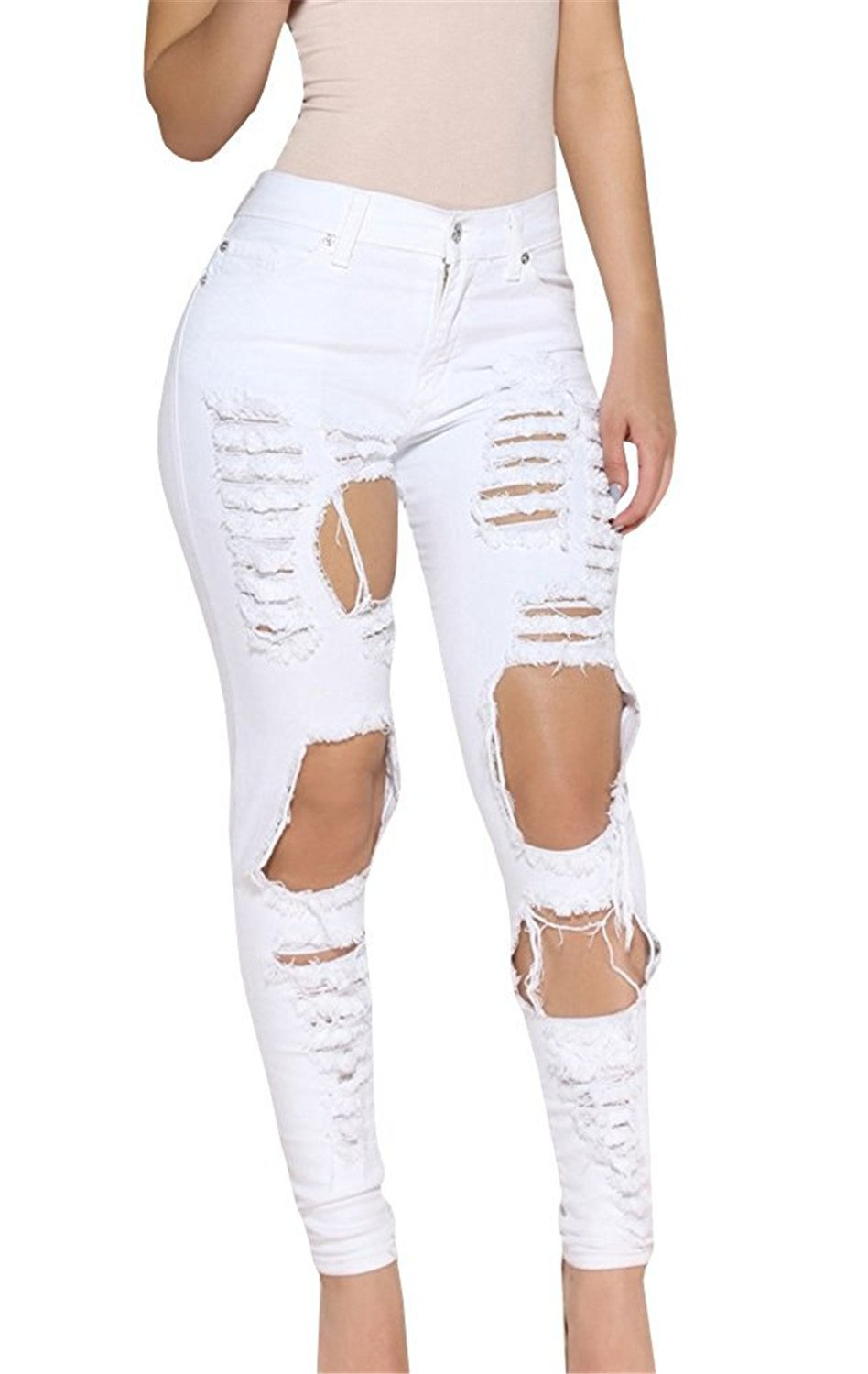 Cheryl Bull Fashion Women Big Holes Ripped Jeans Skinny High Waisted Pencil Pants Black White Plus Size Jeans