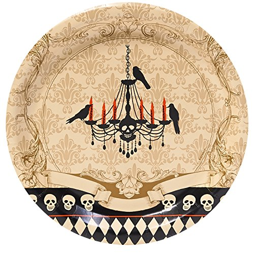 BirthdayExpress Halloween Party Skull Mansion Dinner Plates (8) -