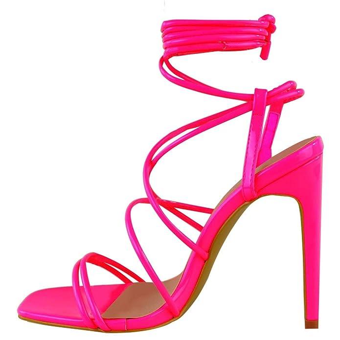 Sandalias de tacón baratas de color rosa neón