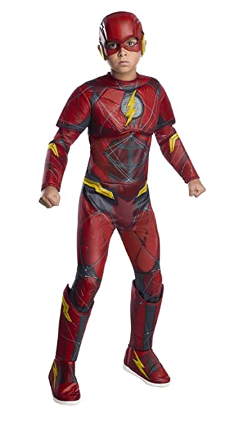 Delightful Rubieu0027s Boys Girls Justice League The Flash Deluxe Costume W Molded Emblem  (Small)