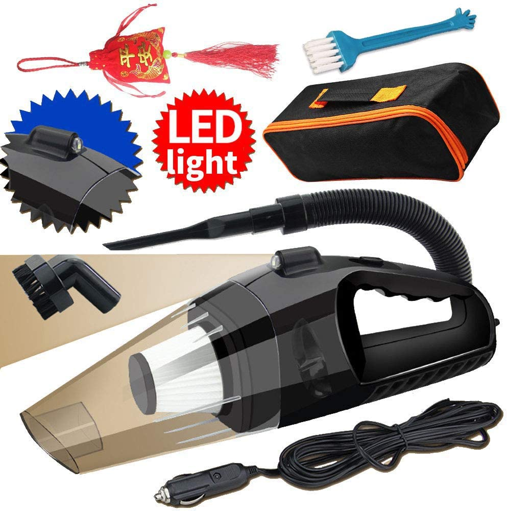 Corded Car Vacuum Cleaner DC12v Volt Wet Dry Portable Auto Vacuum Cleaner for Interior Truck Car Seat Carpet Power Cord with Carry Bag
