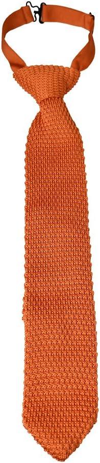 Black Textured Knit Pretied Clip Necktie Adjustable Formal Boys Tie