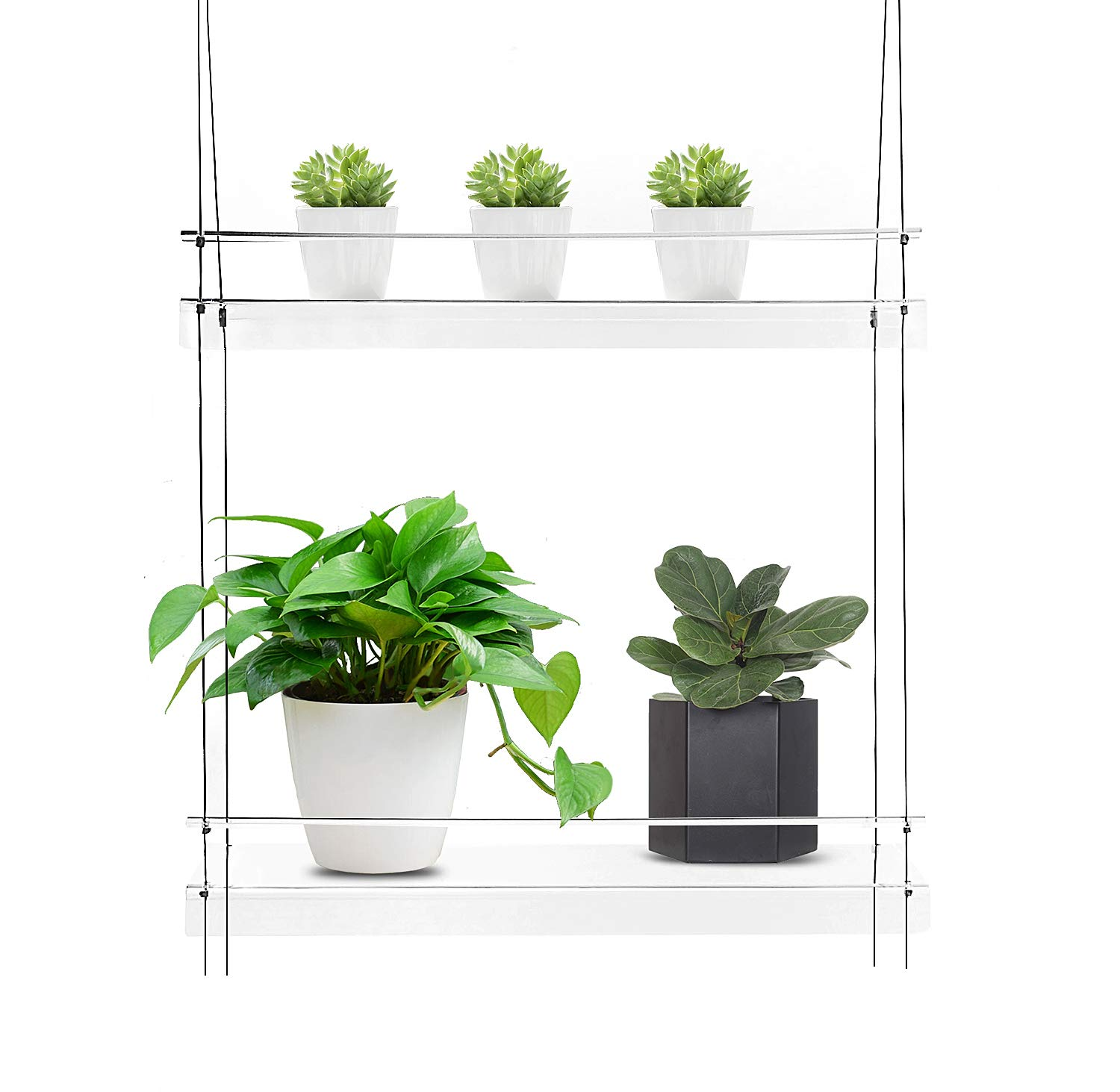 KUNZITE Hanging Window Plant Shelves (20''x6''x34'', 2 Shelves) by KUNZITE
