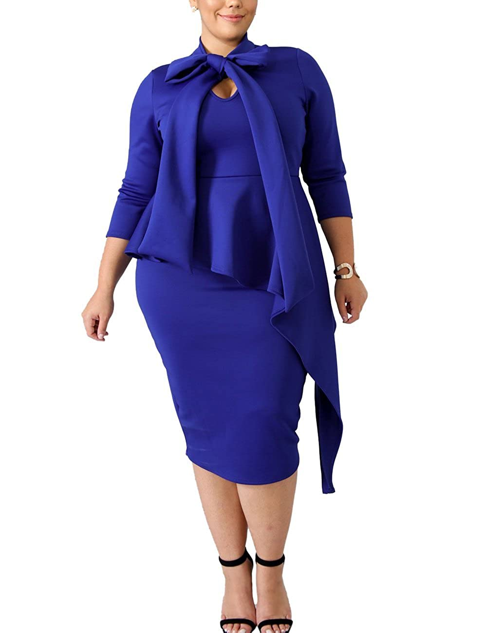 e159ecb9274 XAKALAKA Women s 3 4 Sleeve Plus Size Business Bodycon Pencil Dress with  Tie Neck at Amazon Women s Clothing store