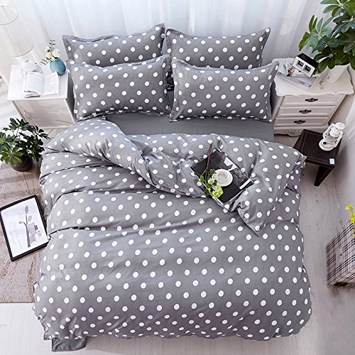 Beddingset Duvet Cover Set Duvet Cover No Comforter Flat Sheet Two Pillowcases 4pcs Children Cactus Circle Point Life Style Design KSN Twin Full Queen Size (Circle Point, Grey, (Pillowcase Dress Set)