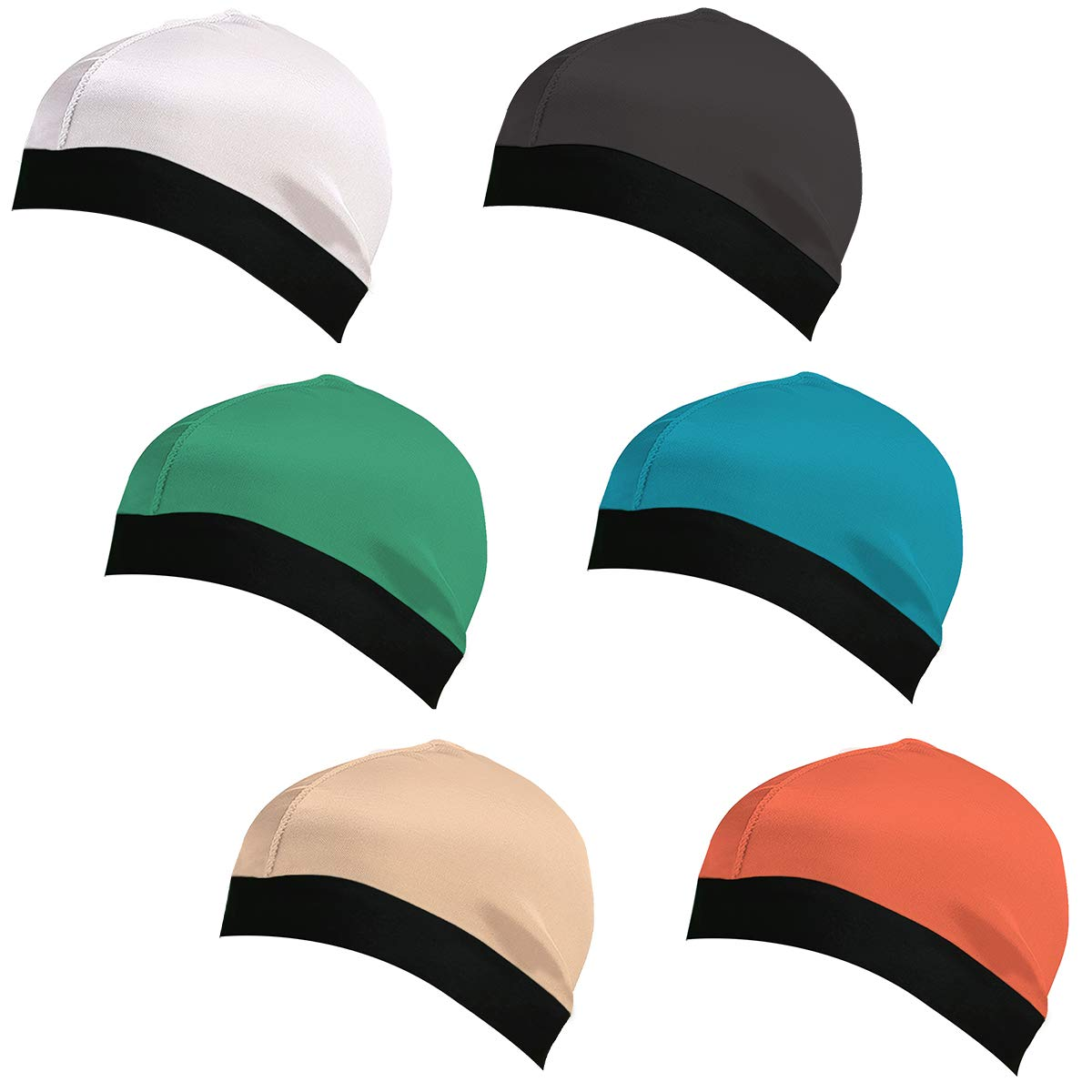 3 Pack Silky Stocking Wave Cap Sleep Cap Shower Cap Durag Base Dome Cap for Men