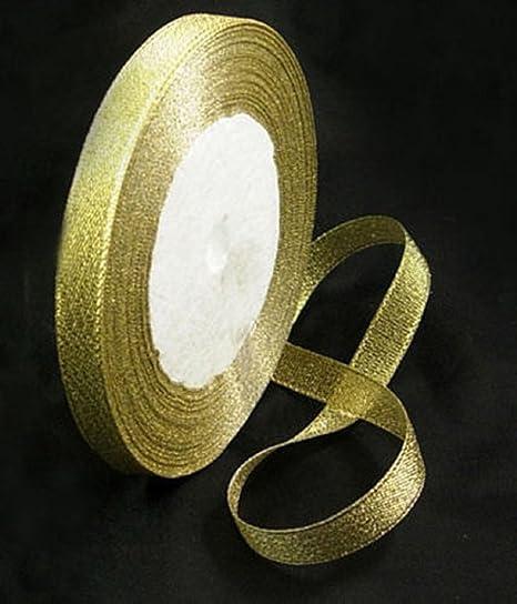GOLD 25 YARDS SATIN EDGE ORGANZA RIBBON 10mm WIDE