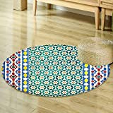 Mikihome Round Rug Kid Carpet Moroccan Decor Colorful Moroccan Mosaic Wall Mideast Style Craftsmanship Vertical Details Home Decor Foor Carpe R-35