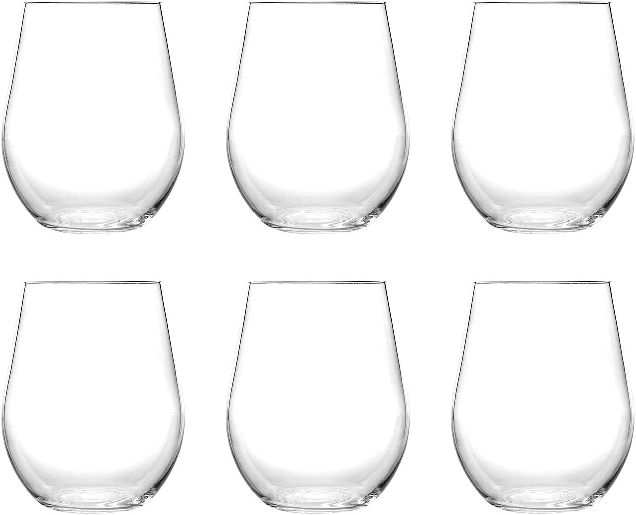 Classic 20OZ Acrylic Plastic Wine/Beverage Glasses, Sets 6(Clear) - Unbreakable, Dishwasher Safe, BPA Free (CLEAR, 6)