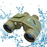 Twod 10X50 Military Army Binoculars with Rangefinder & Illuminated Compass, Pouch for Outdoors, Hunting, Hiking and Trekking