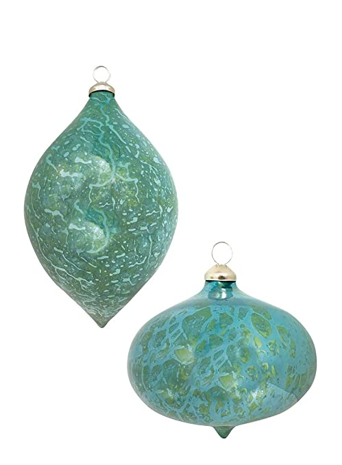 Aqua Christmas Ornaments.Sullivans Aqua Seaside Crackle Finish Onion And Finial Shape Christmas Ornaments Set Of 6 In 2 Styles 5 And 7 5