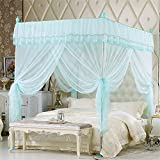 Royal- European Style Square Top Mosquito Net Three-door Encryption Thickening Single Double Bed Stainless Steel Bracket Green ( Color : 32mm , Size : 2.0m (6.6 feet) bed )