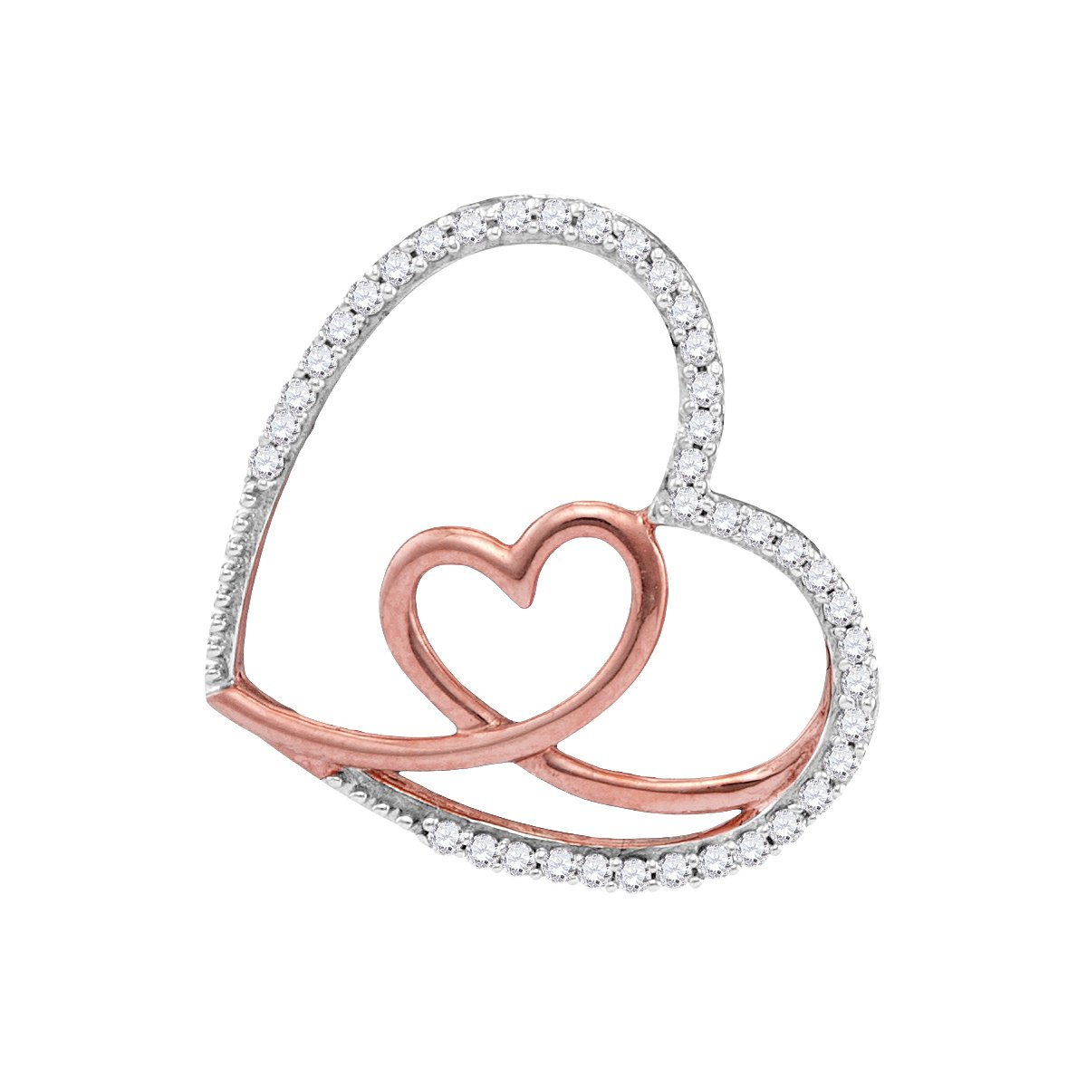 10kt White Gold Womens Round Diamond Rose Nested Heart Love Pendant 1/8 Cttw (I2-I3 clarity; J-K color)