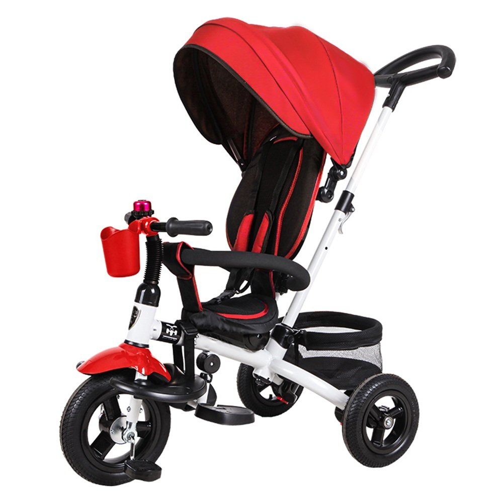HAIZHEN マウンテンバイク 赤ちゃんの三輪車18ヶ月 キッズトライアックと5年間複数の調整可能なサンシェードサイレントホイールの容量最大25キロ 新生児 B07C88LY28 赤 赤