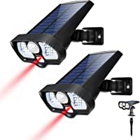 Sunix Luz Solar Exterior 42 LED y 2 led Rojo, Foco Solar Exterior con Sensor de Movimiento Impermeable 2 Modos Gran Ángulo 270º de Iluminación 2200mAh Luces Solares Jardín(2 Paquetes)