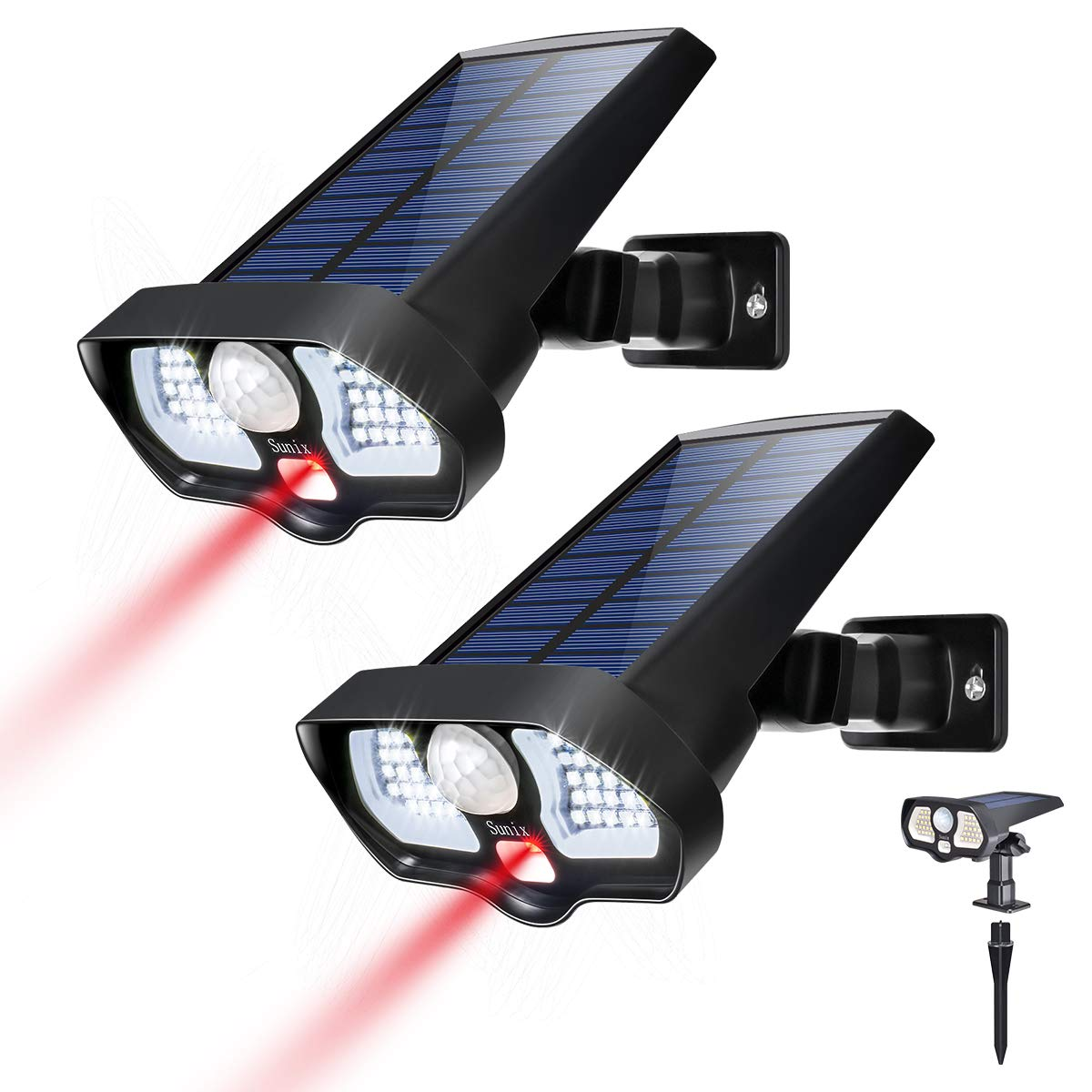 Solar Motion Sensor Light Outdoor 42 White LEDs 2 Red LEDs Ultra Bright, 2 in 1 Landscape Solar Wall Solar Light Wireless Solar Security Light Great Detection for Garden Driveway Carport Patio 2Pack by Sunix