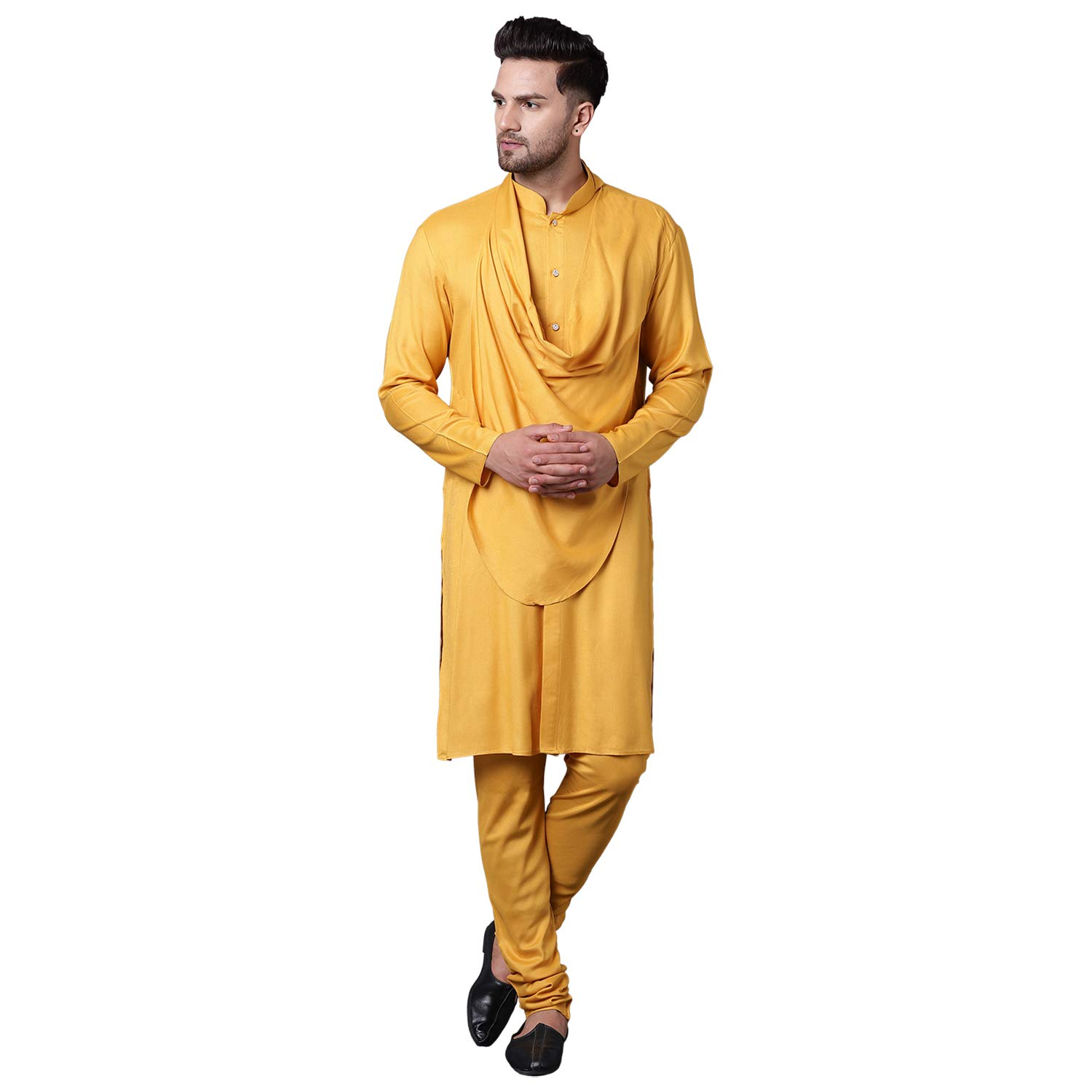 Orange  Indian  Men Kurta Pajama Traditional  Wedding Party  Shirt Free Shawl