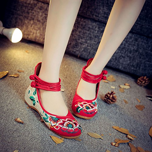 amp;G Shoes Shoes Women'S Casual Flat Women'S Red Retro NGRDX Women'S Espadrilles Hibiscus Chinese Shoes Embroidered YBdxAUvw