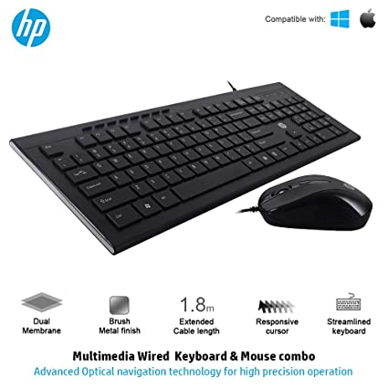 a6defd1cd19 Amazon.in: Buy HP Slim Multimedia USB Wired Keyboard and Mouse Combo  (4SC13PA) Online at Low Prices in India | HP Reviews & Ratings