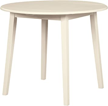 Amazon Com Ashley Furniture Slannery 36 Round Drop Leaf Dining Table In White Tables