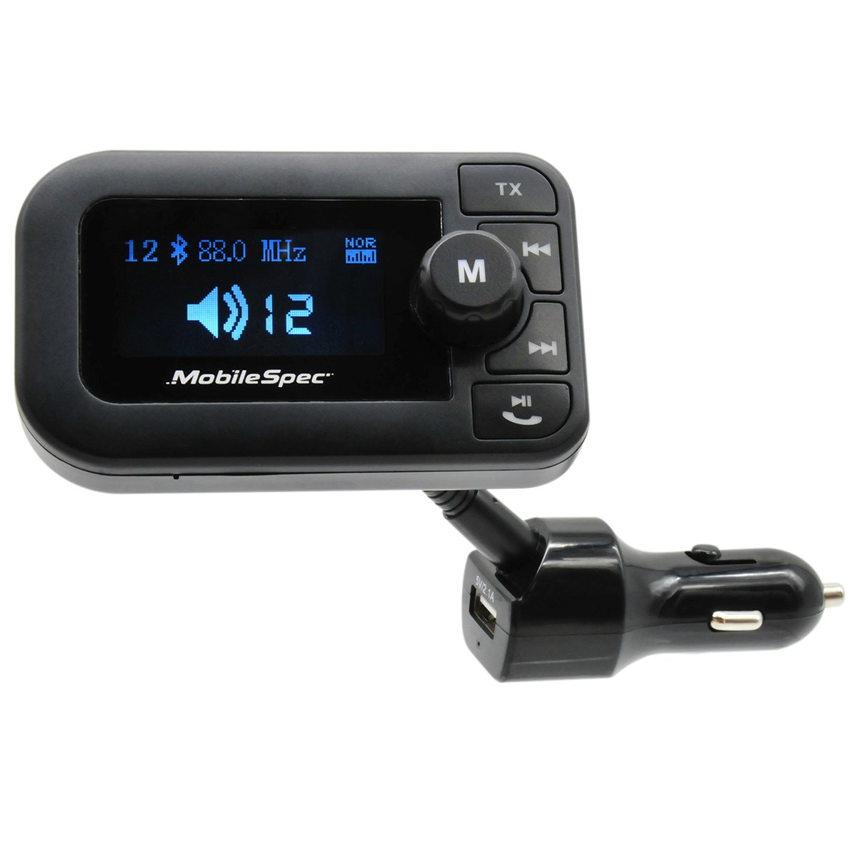 Mobile Spec 12V Charger with 2.1A USB Port, FM Transmitter, Hands-free Mic, and Large LED Display